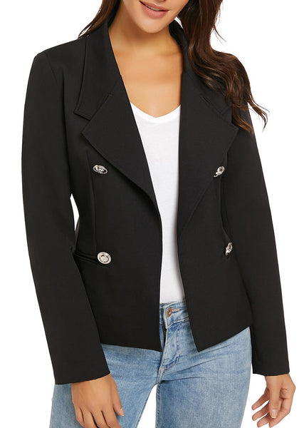 Angled shot of model wearing black notch lapel buttons open-front blazer