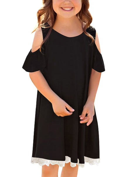 Angled shot of model wearing black short sleeves cold-shoulder crochet lace girl dress