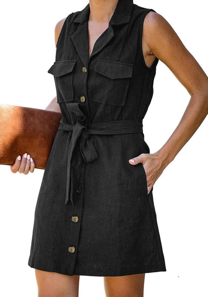 Angled shot of model wearing black sleeveless lapel collar button-down belted dress