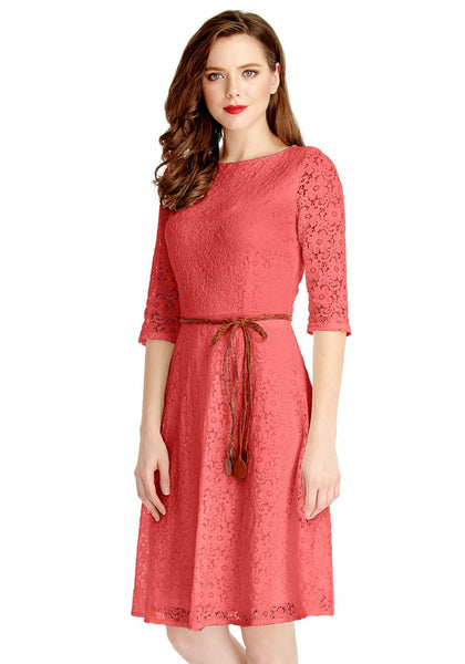 Angled shot of model wearing coral lace crop sleeves A-line dress