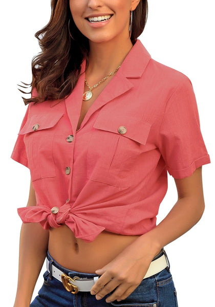 Angled shot of model wearing coral pink short sleeves lapel button-up blouse tied in front