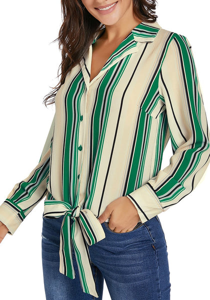 Angled shot of model wearing green long sleeves tie front striped button-up top