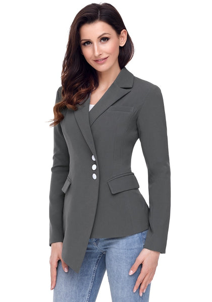 Angled shot of model wearing grey asymmetrical side buttons blazer