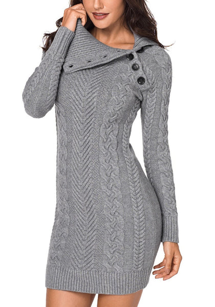 Angled shot of model wearing grey cable knit split cowl neck sweater dress