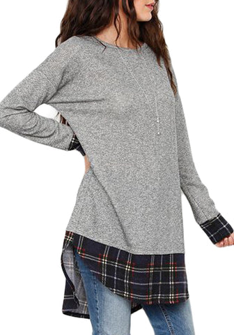 Grey Long Sleeves Plaid Splice Tunic Top