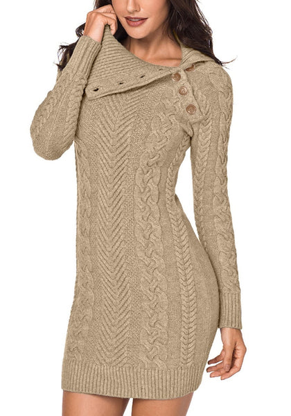 Angled shot of model wearing khaki cable knit split cowl neck sweater dress