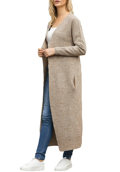 Angled shot of model wearing khaki open-front maxi knit cardigan