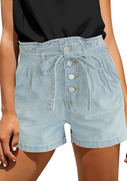 Angled shot of model wearing light blue button-up high-waist belted denim shorts