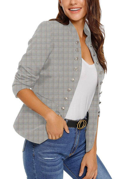 Angled shot of model wearing light grey stand collar open-front blazer