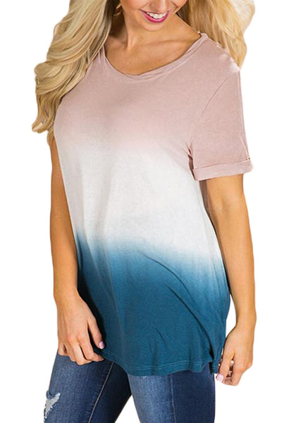 Angled shot of model wearing multicolored short sleeves tie dye ombre top