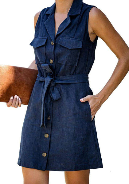 Angled shot of model wearing navy sleeveless lapel collar button-down belted dress