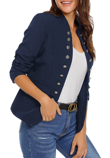 Angled shot of model wearing navy stand collar open-front blazer