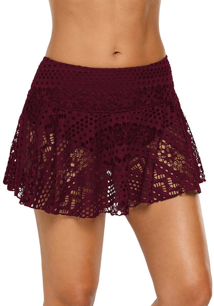 Angled shot of model wearing port lace crochet swim skirt