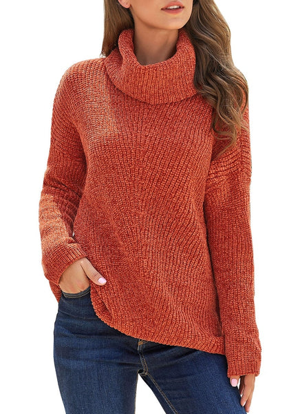 Angled shot of model wearing rust turtleneck velvet cable knit pullover sweater