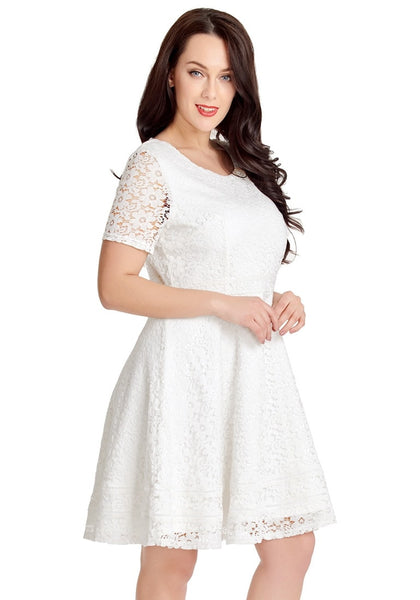 Angled shot of model wearing white floral hollow lace short sleeves skater dress