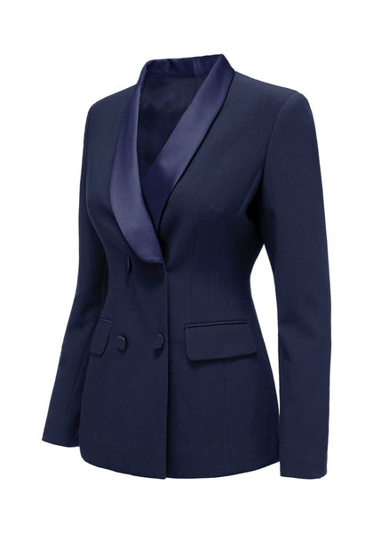 Angled shot of navy satin lapel front-buttons blazer's 3D image