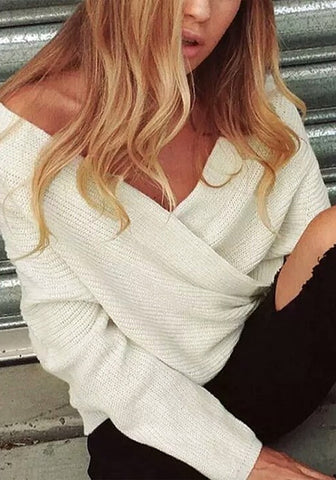 White Wrap Off-Shoulder Sweater