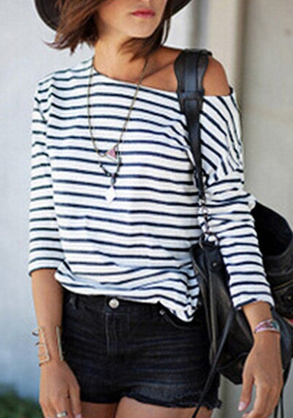 Black and White Striped Long-Sleeves Top