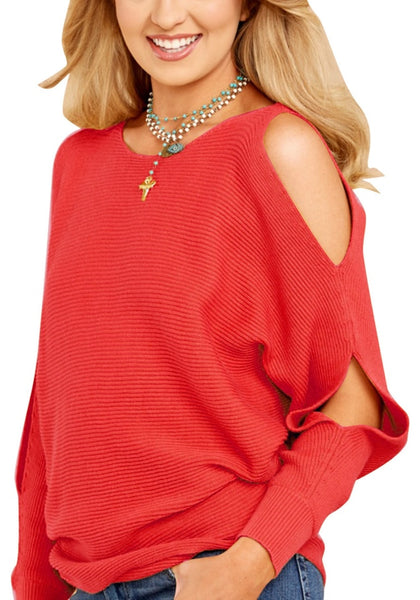 Angled shot of woman in red cutout slit sweater