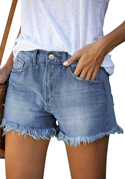 Angled shot view of model wearing blue frayed hem washed denim jeans shorts