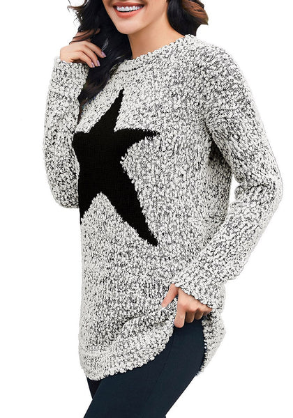 Angled shot view of model wearing grey melange popcorn fleece star pullover