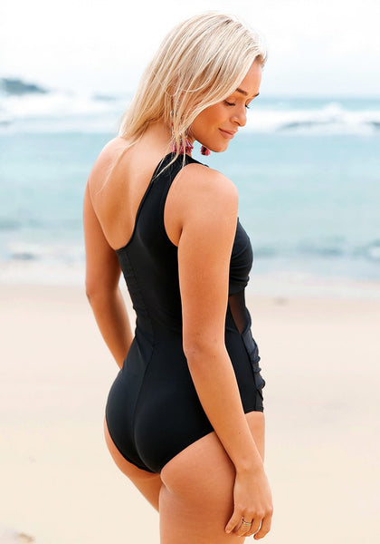 Angled view of black mesh one-shoulder ruched swimsuit's 3D image