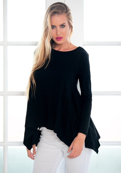 Angled view of model in black asymmetrical blouse