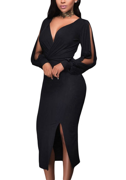 Angled view of model wearing black split sleeve ruched midi dress