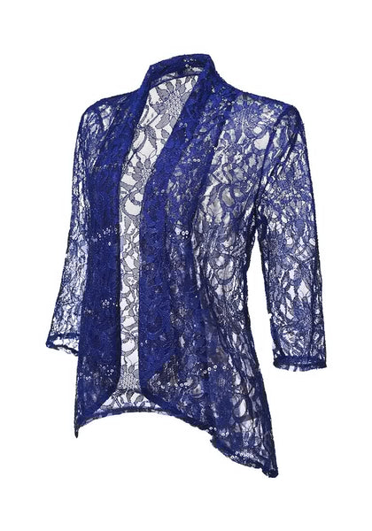Angled view of royal blue floral lace sequins sheer cardigan's 3D image
