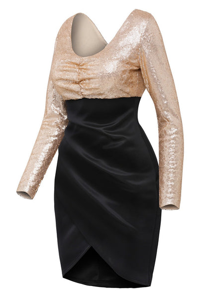 Angled view of sequin long sleeves wrap bottom dress' 3D image