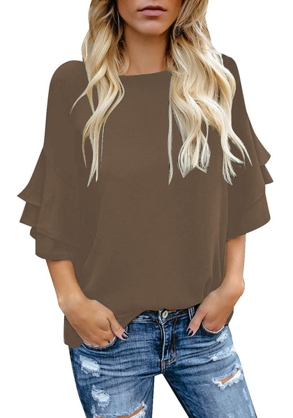 Model wearing brown trumpet sleeves keyhole-back blouse