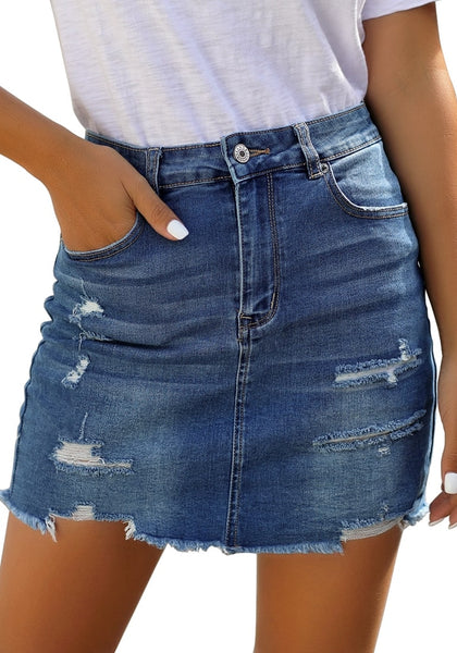 Back view of model wearing dark blue distressed frayed hem denim mini skirt