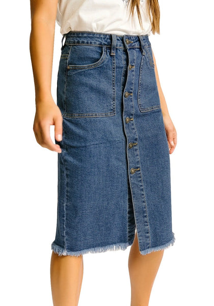 Angled shot of model wearing dark blue frayed hem button-down midi denim skirt