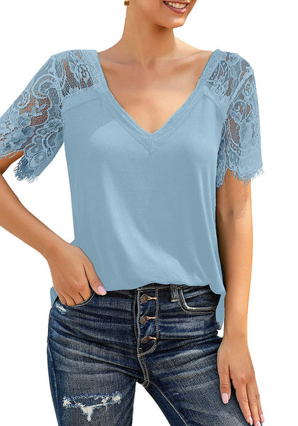 Angled shot of model wearing sky blue crochet lace short sleeves striped V-neckline top