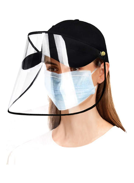 Angled shot of woman wearing  full face baseball cap protective face shield