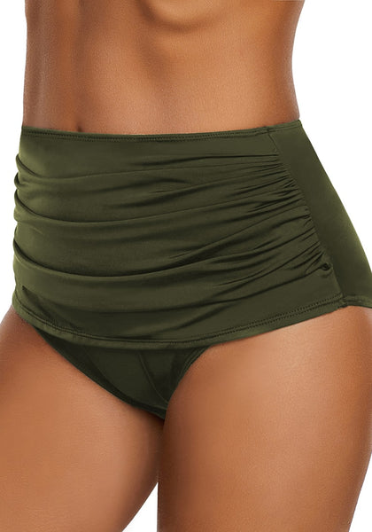 Angled view of model wearing army green high waist ruched swim bottom