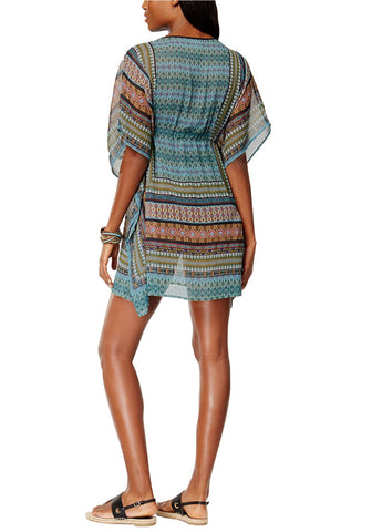 Blue Green Ethnic-Print Kaftan Beach Cover-Up