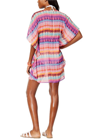 Purple Ethnic-Print Kaftan Beach Cover-Up
