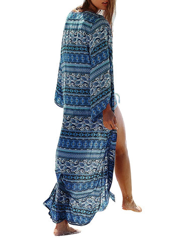 Blue Boho Print Long Kimono Beach Cover-Up