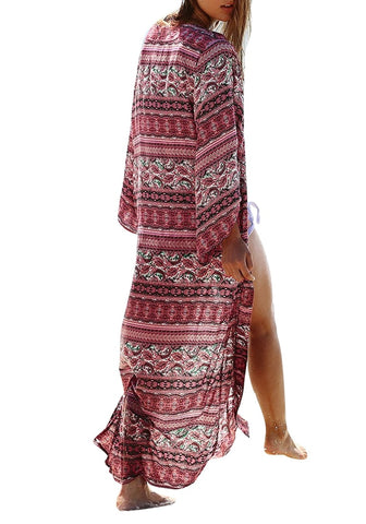 Red Boho Print Long Kimono Beach Cover-Up