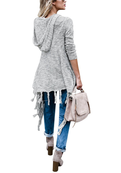 Back full shot of woman wearing grey long sleeves knitted open front tassel cardigan