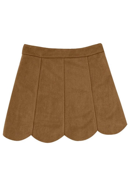 Back of girl in brown suede scallop hem miniskirt
