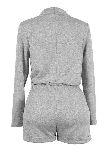 Back of grey turtleneck drawstring romper