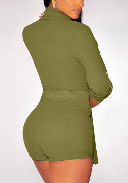 Back of moss green suit-style chiffon romper