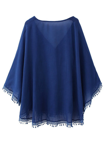 Back of navy blue chiffon kaftan top