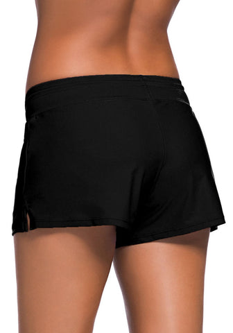 Black Drawstring Side-Slit Board Shorts