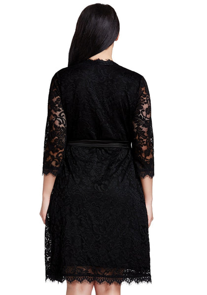 Back shot of model in black lace crop sleeves wrap dress
