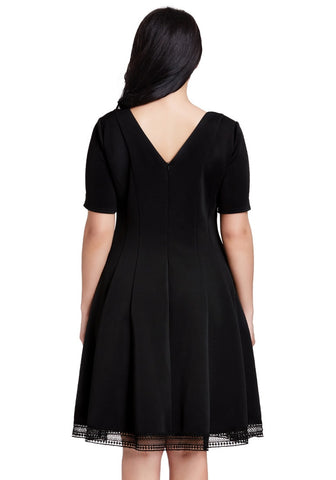 Plus Size Black Short-Sleeves Skater Dress