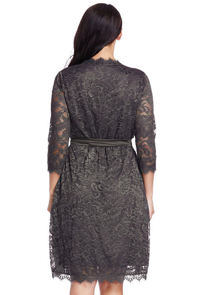 Back shot of model in plus size grey lace crop sleeves wrap dress