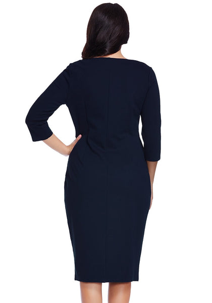 Back shot of model in plus size navy blue zip-up pencil dress